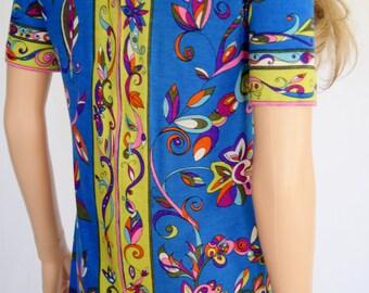 Vintage 1960's EMILIO PUCCI PsYcHeDeLiC NeOn FiSh BiRd MoD KNIT Cashmere Couture Dress Size M 12