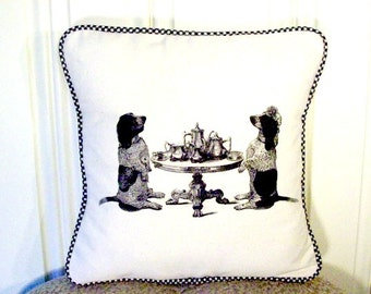 """shabby chic, feed sack, french country, vintage basset hound tea party scene with gingham  welting 14"""" x 14"""" pillow sham."""