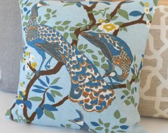 Decorative pillow cover, DwellStudio, Vintage Plumes Jade, peacock pillow