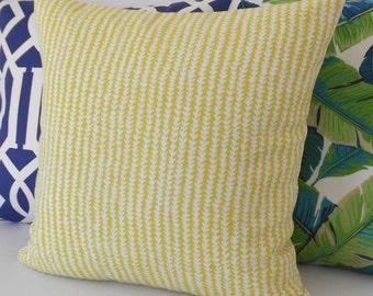 Outdoor lime, yellow/green triangle chevron stripe decorative pillow cover