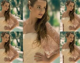 Bridesmaids Set Of 5 Dust Rose Lace Shawls With 4 Wearing Options- Shrug, Shawl, Twisted Shawl And Scarf. Dust Rose Bridesmaids Shawls DL104