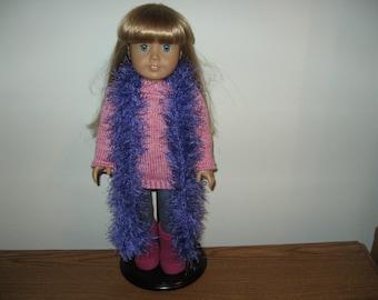 "Hand-Knit Purple Funfur Scarf  for 18"" 18 inch Dolls"