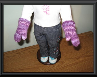 """Hand Knit purple mittens for 18"""" 18 inch dolls will fit American Girl"""
