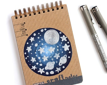 Spiral notebook with hardcover Hand painted with Metallic silver paint Moon and space