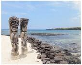 Beach Photography - City of Refuge Hawaii - Hawaii beach photograph - Big Island photograph - statue Hawaii art print - Hawaii home decor