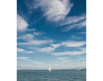 Clouds photograph - nautical photograph - ocean photograph - nautical home decor - cloud wall art - blue wall art - blue photograph - blue