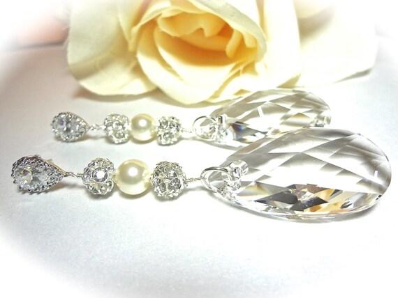 Bridal jewelry - Swarovski crystal earrings - Long - Statement earrings -  Swarovski teardrops  - Sterling Silver -  Brides earrings - Gift