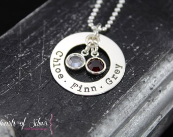 Open Circle of Love Mommy Necklace- Hand Stamped Jewelry- Sterling Silver Charm Necklace- Personalized Necklace