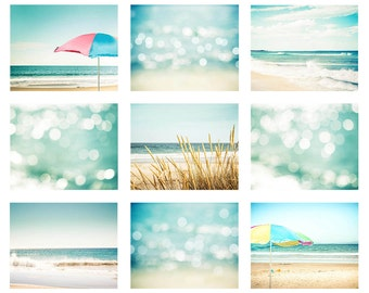 beach photography set of 9 prints nautical decor coastal 8x10 11x14 fine art photography ocean bokeh photography abstract umbrella mint aqua
