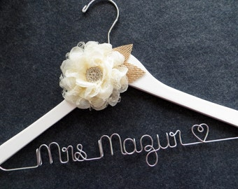 RUSTIC Wedding Dress Hanger, White Burlap and Lace Bridal Hanger, Barn Wedding, Engagement Gift, Custom Wedding Hanger, Bride Shower Gift