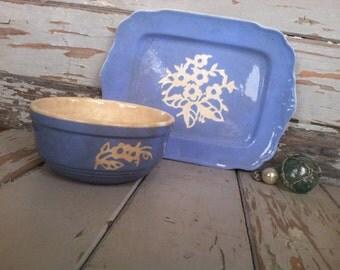 Antique Harker Pottery Cameoware Dishes in Blue - Vintage Blue Cameoware Serving Platter + Soup Bowl, Dinner Serving Ware, Blue Art Pottery