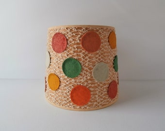Vintage Lamp Shade for Child's Room, Small Drum Shade, Quirky Colorful Lamp Shade, 1970s Boho Lamp Shade, Clip-on Shade, Felt Dot Shade