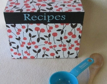 Recipe Box, Cherry Wooden Recipe Box with Aqua Accent -  Housewares -  Box - 3X5 Recipe Box - Wood Recipe Box - Gift - Personalized