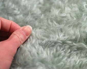3/4-inch Sky Blue 785H Curly German Mohair Fabric 1/8, 1/4 or 1/2 Yard