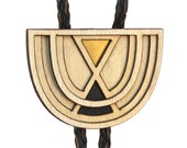 FOGBOW | modern bolo tie, laser cut wood brass and leather bolo tie