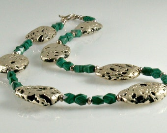 """Necklace in White Gold and Malachite, Gilded White Gold Leaf On Volcanic Stone, Faceted Malachite, Sterling Silver Toggle Clasp, 19.5"""""""