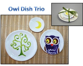 Owl Dish Trio: Green Tree, Purple Owl, Yellow Moon dish set. Sushi, tea set, ring dishes, themed dishes.