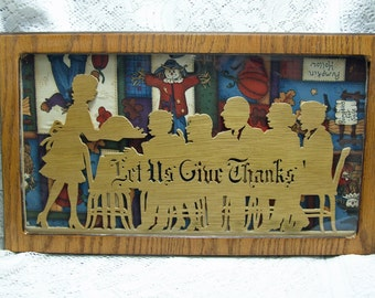 SALE  Vintage Scroll Saw Give Thanks Plaque Framed with Glass Thanksgiving HandMade