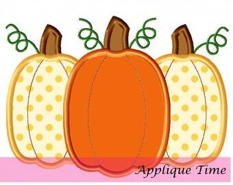 Instant Download Pumpkin Trio 3 Machine Embroidery Applique Design 4x4, 5x7 and 6x10