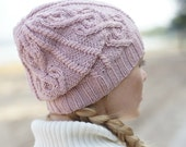 Hand knitted autumn winter hat - pink hat urban wool hat