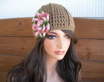 Womens Hat Crochet Hat Winter Fashion Accessories Women Beanie Winter Hat in Light brown with Multicolor crochet flower