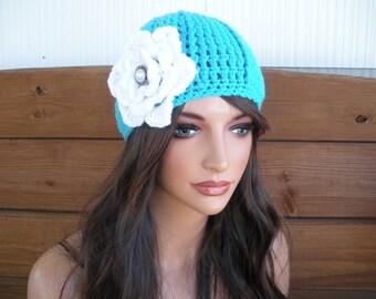 Women's Hat Crochet Hat Winter Accessories Women Beanie Hat Fashion Winter Hat Aqua blue with White Crochet Flower