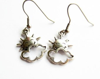 Silver Sunshine Earrings, Smiley Face Sun and Cloud Drop Earrings, Hypoallergenic Surgical Stainless Steel, Girls Earrings
