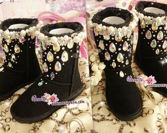 PROMOTION WINTER Black Sheepskin Wool Boots with shinning and stylish CRYSTALS - Falling Stars