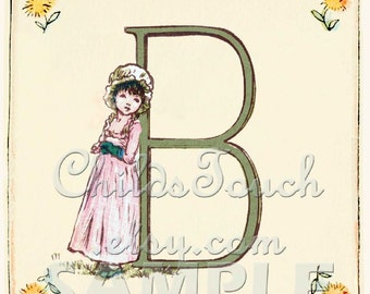 Absolutely Adorable Vintage Alphabet Cards - banner - from 1885-Vintage Reproduction - Kate Greenaway