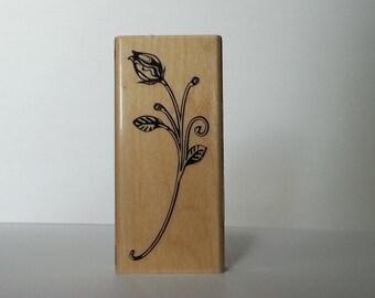 Rose Bud Wooden Stamp INADINKADO