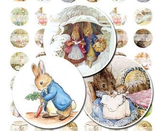 "Beatrix Potter Peter Rabbit illustrations Digital 1"" inch bottle cap circle images - Instant Download - 8.5x11 4x6"