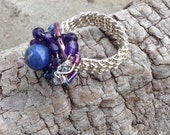 Sterling Silver Weave ring with Agate amethyst and crystals