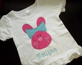Appliqued Big Bow Bunny Head Shirt with Name / Monogrammed Easter Shirt / Appliqued Holiday Shirt / Childrens Bunny Shirt / Kids Bunny Tee