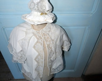 Antique French baby toddler infant jacket clothing w bonnet hat coiffe Victorian clothing in velvet w silk w filet lace handmade vestments