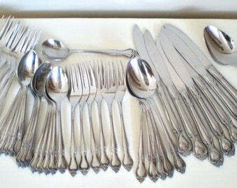 Shabby Chic Silverware Set EKCO Eterna Regal Rose Service for 1, 2, 3, 4, 5 Custom Stainless Extra Replacement Place Settings, 42 pieces