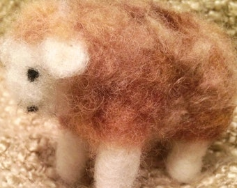 Brown needle felted sheep