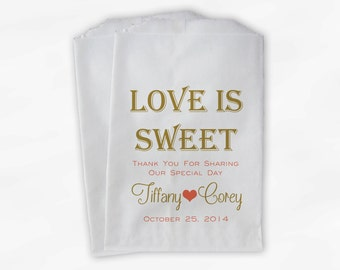 Love Is Sweet Wedding Candy Buffet Treat Bags - Mr and Mrs Personalized Favor Bags in Gold and Coral - Custom Paper Bags (0069)