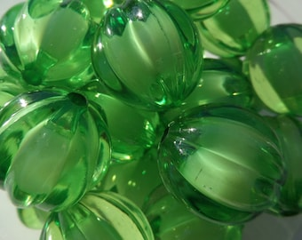 16mm, 10CT Dark Green Pumpkin Chunky Beads, B51