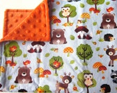 Security Minky Blanket Small Blankie Woodland Animals Unisex Gender Neutral Baby Gift Lovey