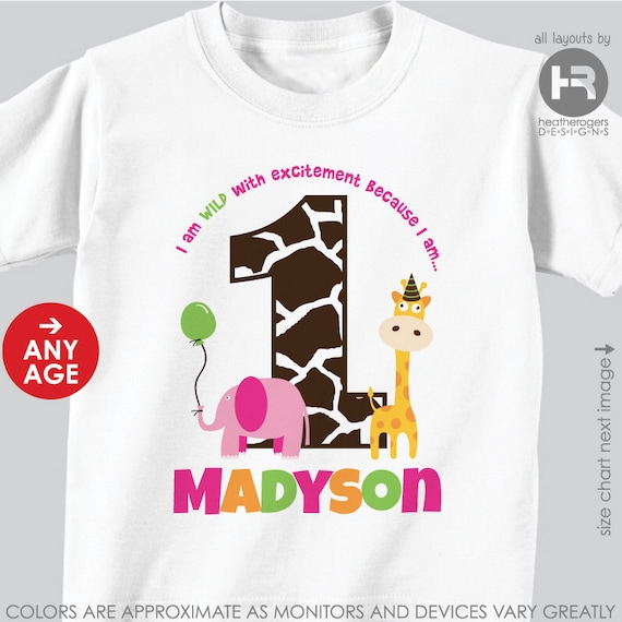 Girl Jungle Birthday Shirt or Bodysuit -- Personalized with child's age and name