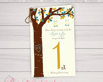 Table Number Anniversary Book Cards  (Color/Font/Text Changes are FREE with Deposit or Digital Purchase)
