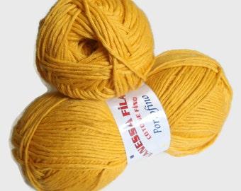 Mustard yarn, cotton yarn, knitting yarn, crochet yarn,fashion yarn, Each skein: 100 gr