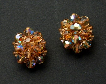 Vintage 50's golden sparkly rhinestone earrings!