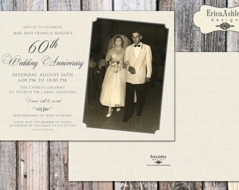 60th Anniversary Party Invitation - 5 X 7  (Digital File Version Available)