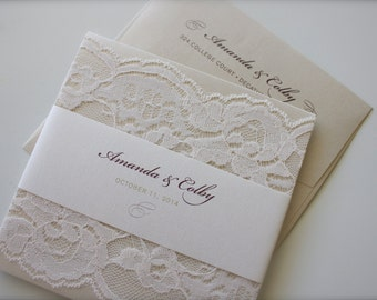 Beautiful Simple Lace Wedding Invitation in Maroon, Champagne & Ivory