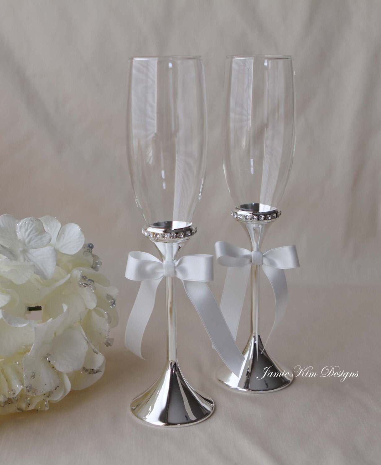 wedding champange flutes toasting flutes set of 2