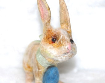 Spun cotton Springtime field bunny ornament OOAK vintage craft by jejeMae