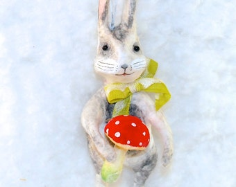 Spun cotton Bunny rabbit with mushroom vintage craft ornament OOAK by jejeMae