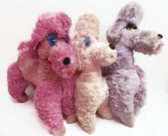1950s Plush Poodle Trio: Stuffed Dog Toys