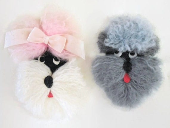 Darling Pair of Yarn Applique Poodles for Crafts or Decor